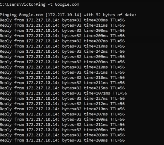 پینگ سایت google در لینوکس